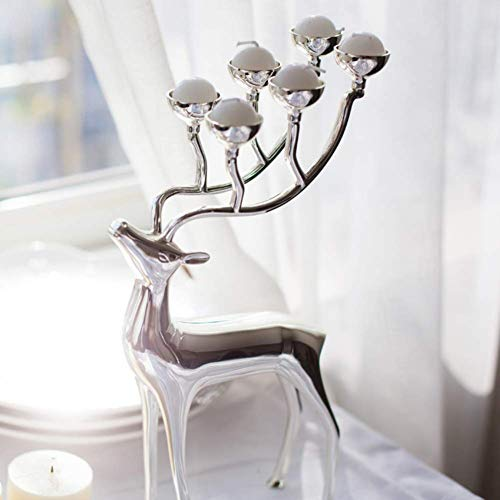 LIUSHI Deer Sculpture,Christmas Reindeer Tealight Candle Holder,Metal Animal Ornament for Weddings Parties Holiday Home Decor Silvery 17x30cm(7x12inch)