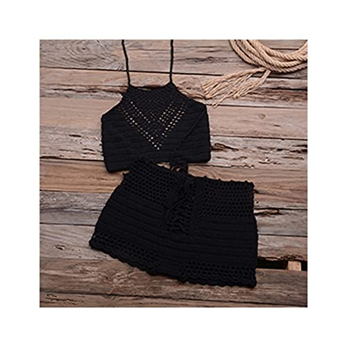 Hecho a Mano Crochet Bikini Set Ladies'Kn'n'knited Trajes de baño Surfing Ropa Femenino Hueco Sexy Traje de baño Mujer Hot Hot Sexy Cintura Estilo (Color : Black, Tamaño : L)