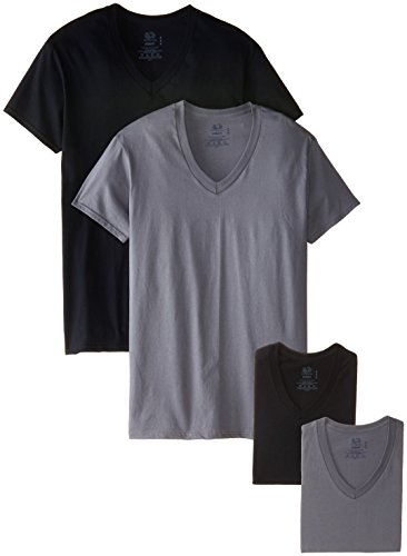 Fruit of the Loom Men's 4 Pack V-Neck T-Shirt, Black/Gray, Large