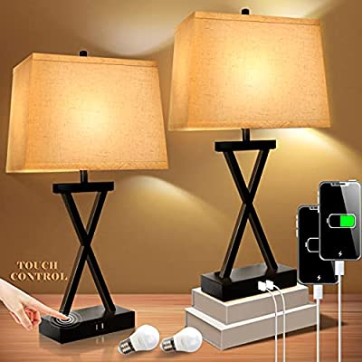 """Innqoo Bedside Table Lamps for Bedroom - Set of 2 Nightstand Touch Lamps with USB Charging Ports, 23"""" Tall House Decor Farmhouse Decorations for Living Room, 3-Way Dimmable Modern Lamps with LED Bulbs"""