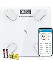 【2021年最新版 体重計】 体組成計 体脂肪計 高精度 Bluetooth対応 体重/BMI/体脂肪率/筋肉量/基礎代謝率 など12項目測定 を専用アプリに表示 スマホ連動 自動ON/OFF 乾電池付き