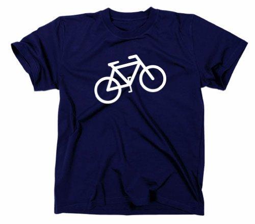 Fahrrad Logo T-Shirt Verkehrszeichen Piktogramm, Navy, XL