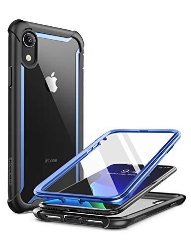 i-Blason iPhone XR Hülle [Ares] Handyhülle 360 Grad Bumper Hülle Robust Schutzhülle Transparent Cover mit integriertem Bildschirmschutz für Apple iPhone XR 6.1 Zoll 2018 (Blau)