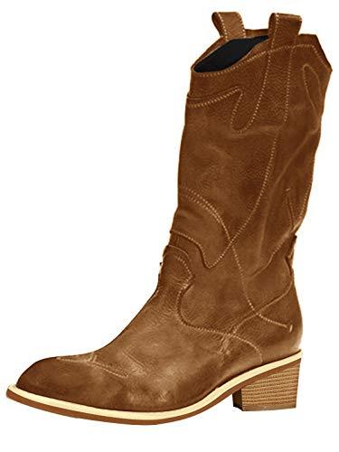 Minetom Damen Cowboy Stiefel aus Leder Gefütterte Westernstiefel Biker Boots Kurze Stiefel Blockabsatz Stiefeletten A Braun 39 EU
