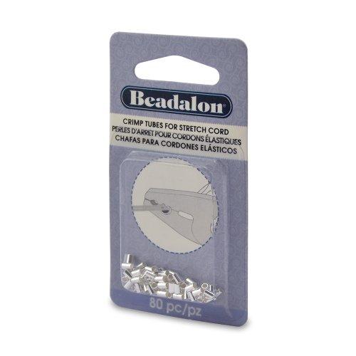 Beadalon 80-Piece Crimp Silver Plate Stretch Cord, 0.8mm