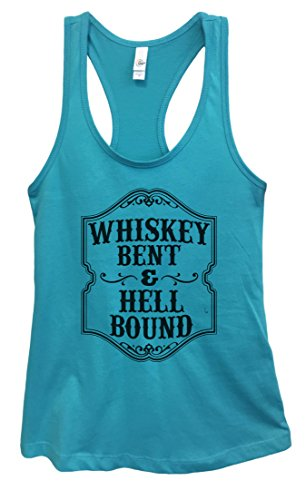 Womens Basic Tank Top Whiskey Bent & Hell Bound Funny Drinking Tank Top XX-Large, Sky Blue