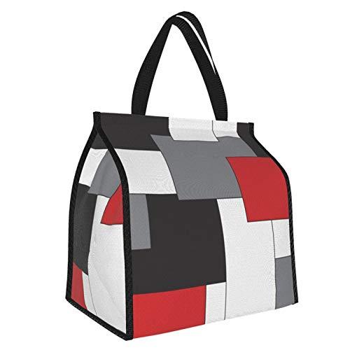 Block - Bolsa de almuerzo para almuerzo, color rojo, negro, gris, blanco, bolsa de almuerzo para alimentos, organizador grande para el trabajo y viajes escolares para mujeres, hombres