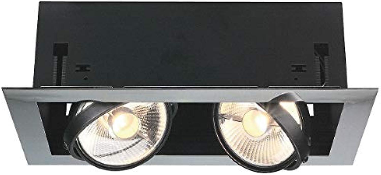 SLV AIXLIGHT 2, Einbauleuchte, Stahl, GU10, chrom schwarz, 42 x 17 x 25 cm