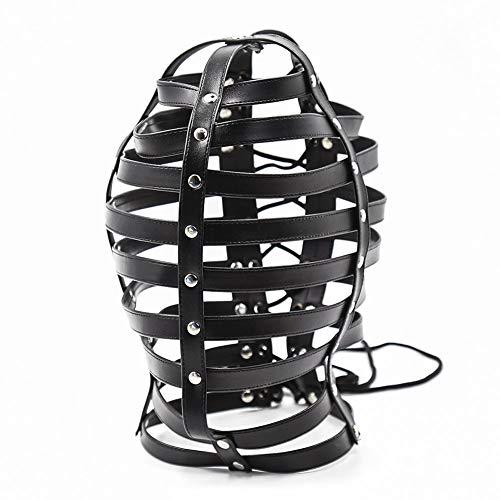 Paar flirt Sadomasochismus Maske Leder -Streifenmaske Fechten Haube alternative Spielzeug Performance Maske Leistungsstützen,a