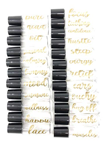 24 Gold Vinyl Essential Oil Labels for 10ml Roller Bottles Oil Blends / 24 Gold Labels with Free...