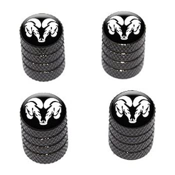eXeAuto Black Tire Valve Stem Air Caps Cover and Keychain Combo Set for Dodge Ram
