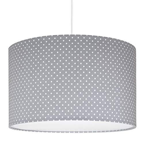 youngDECO Lampe für Kinderzimmer, zarte Punkte auf Pastellgrau, 2xE27, Ø38cm großer Lampenschirm aus Textil, skandinavische Kinderzimmer-Deko für Mädchen, komplette Deckenlampe für Kinderzimmer