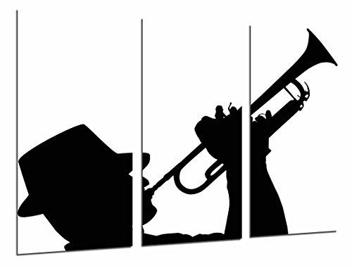Foto decoratie man en trompet, wit en zwart, totale grootte: 97 x 62 cm, XXL