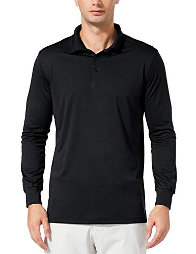 BALEAF Men's UPF 50+ Performance Quick Dry Golf Solid Polo Active Shirt Long Sleeve Black Size XL