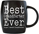16oz Funny Fathers Day Gifts for Grandpa Best Grandfather Ever Coffee Mug Novelty Drinkware Great Grandfather Cup For Christmas Birthday - Black