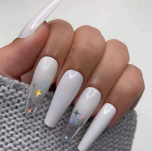 Blufly Glossy Gradient White Extra Long Press on Nails Square Coffin Fake Nails Glitter Sequins Art Acrylic False Nails Tips Ballerina Nails for Women and Girls