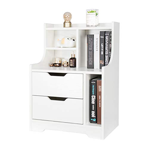 ARTETHYS Wood End Table Nightstand - Side Table with Shelves and Drawers Easy Clean for Living Room Bedroom (White)