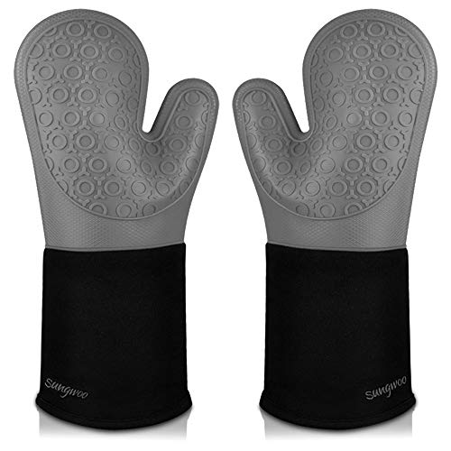 Sungwoo Extra Long Silicone Oven Mitts, Heat Resistant Oven Gloves with Quilted Liner Non-Slip Textured Grip Perfect for BBQ, Baking and Grilling - 14.6 Inch Grey