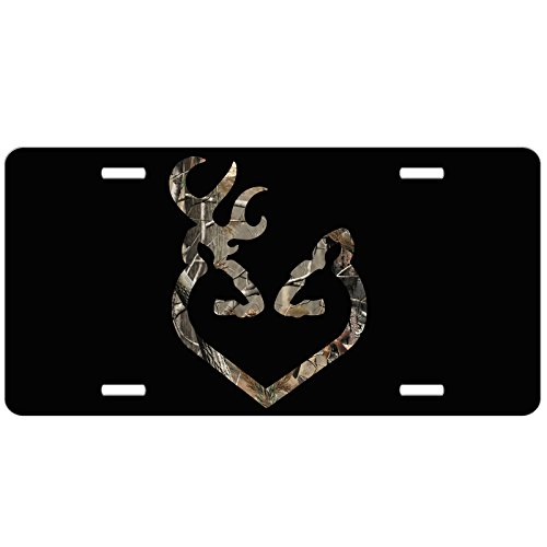 Simply Customized Buck & Doe Black with Camo Buck & Doe Deer Heart - Front License Plate - Custom Car Tag - Auto Tag Vanity NPLP