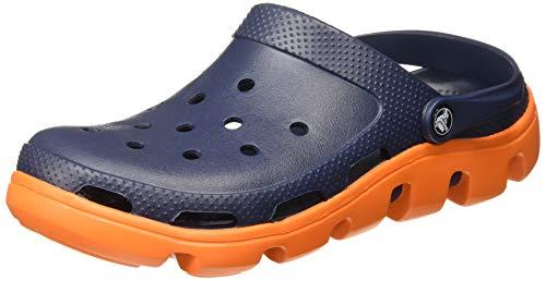 Crocs Unisex-Erwachsene Duet Sport Clog, Blu Scuro (Navy/Orange), 45/46 EU