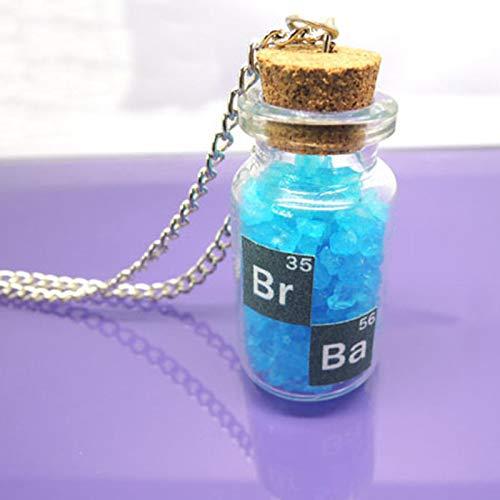 WYFLL Collar de botella de cristal con diseño de espíritu maligno clásico, diseño de botella de cielo azul