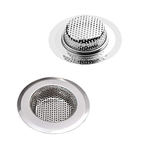 Fayomir Abflusssieb Edelstahl, 5.5CM Abflusssieb Dusche, 2 Stück Küchen spüle, Abflusssieb Waschbecken, Spüle Filter Sieb, Verschiedene Größen sind für Sieb Dusche Abfluss 3.6 cm-11cm