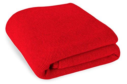 Love Cashmere 100% Kaschmir Reisedecke in Waffelstich Gestricken - **Individuelle Anfertigung** - Rot - Handgefertigt in Schottland