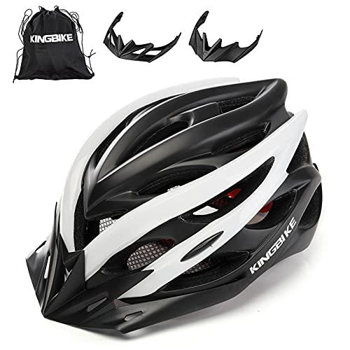 KING BIKE Fahrradhelm Helm Bike Fahrrad Radhelm mit LED Licht FüR Herren Damen Helmet Auf Die Helme Sportartikel Fahrradhelme GmbH RennräDer Mountain Schale Mountainbike MTB(schwarz Weiß, M/L(54-59CM)