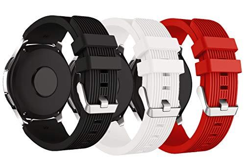 XingWangFa for Samsung Galaxy Watch (46mm) Straps Correas[3 Pack] 22mm Soft Silicone Sport Correa Replacement Strap For Samsung Galaxy Watch (46mm) SmartWatch