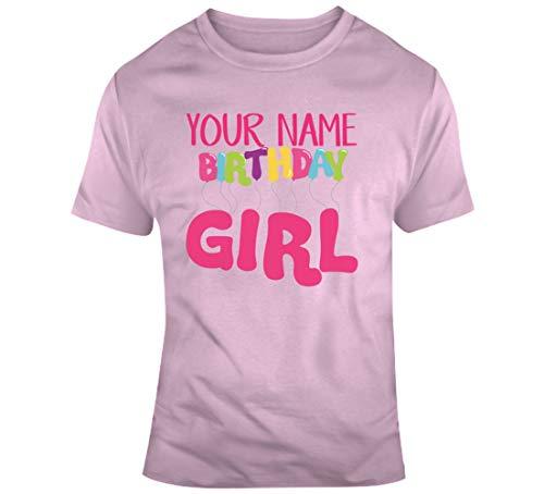 Tu nombre de cumpleaños niña edad nacimiento año fecha de nacimiento cumpleaños personalizado camiseta rosa claro