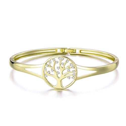 Philip Jones Gold Tree of Life Cuff Bangle Created with Austrian Crystals