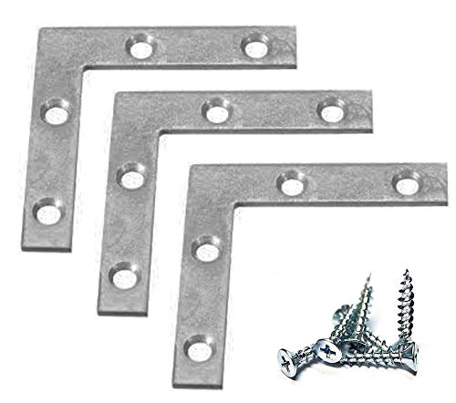 "Extra Heavy Duty 12 Pack L Type Flat Zinc Plated Steel Corner Braces Angle Brackets 1.5"" x 1.5"" with 1/2"" x 4 Screws"