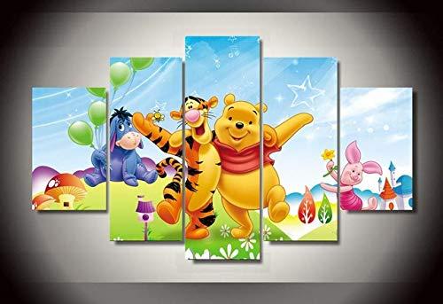 Winnie The Pooh HD-Druck 5 Stück Leinwand Malerei Cartoon Poster Wandkunst Dekor für Wohnzimmer(size)