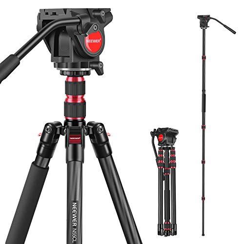 """Neewer 2-in-1 Treppiede Monopiede N55CL in Fibra di Carbonio Altezza Massima 200cm & Testa Fluida Panoramica con Viti 1/4"""" 3/8"""", per Reflex Digitali Videocamere, Massima Portata 10kg"""