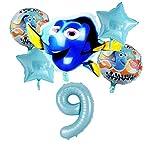 JSJJATQ Globos de aluminio globos subacuáticos lindos inflables payaso peces de mar animales globos bebé fiesta cumpleaños número conjunto (color: número 9)