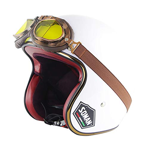 Vintage Motorcycle Helmet Open-Face Motorbike Helmet Jet Bobber Chopper Crash 3/4 Helmet DOT/ECE Certification with Goggles Cruiser Scooter Half-Shell Crash Helmet for Men Women F,XXL(63~64cm)