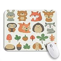 ECOMAOMI 可愛いマウスパッド 森かわいいノウサギクマフォックス鹿フクロウリスハリネズミノンスリップラバーバッキングコンピュータマウスパッド用ノートブックマウスマット