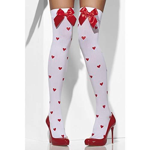 Smiffys Fever Damen Halterlose Strümpfe mit Schleifen und Herzmuster, One Size, Farbe: Weiß-Rot, 42779