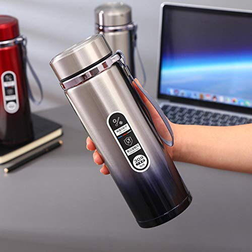 FPXNBONE Isotherme INOX Double Thermos,Tasse d'isolation Portable en Acier Inoxydable, Pot Sport Portable en Plein air-A_750ml,Bouteille Isotherme en Acier Inoxydable Hermétique