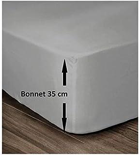 LOVELY HOME Drap Housse 100% Coton 140x190cm - Bonnet 35cm - Gris Clair