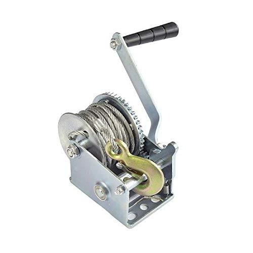 JTB Cabrestante Manual con Freno de manivela de Engranaje de la Correa de Torno de Cable de Alambre de Acero de 8 m de Cuerda for Tirar de Barcos Remolques y Camiones (Color : 1000LB)