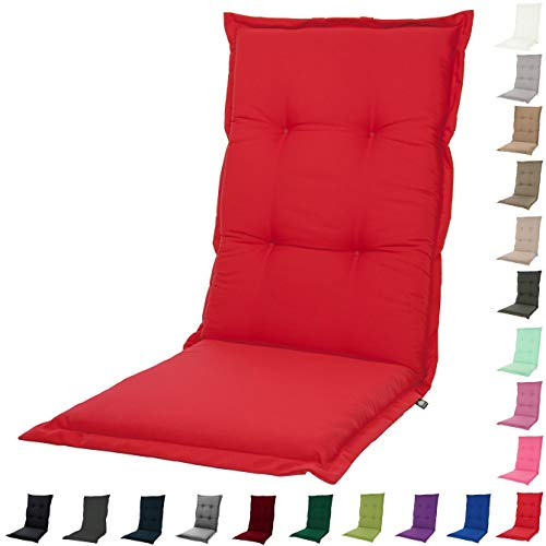 KOPU® Auflage für Hochlehner Prisma Red | Polster für Gartenstühle | Rot Garten Kissen 125 x 50 cm | 19 einfache Farben | Robuster Schaumstoff für zusätzlichen Komfort