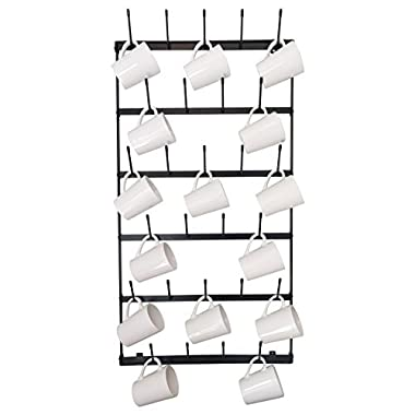 Wall Mounted Mug Rack - 6 Row Metal Storage Display Organizer For Coffee Mugs, Tea Cups, Mason Jars, and More.