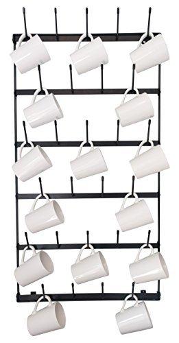 Metal Coffee Mug Rack - Large 6 Row Wall Mounted Storage Display Organizer Rack For Coffee Mugs, Tea Cups, Mason Jars, and More. (38
