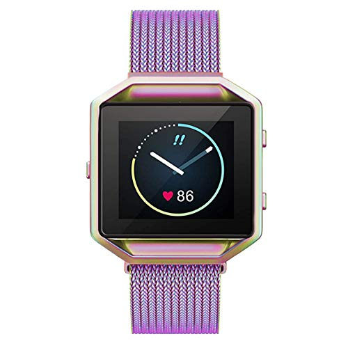 Metal Bands Compatible with Fitbit Blaze Smart Watch, Small and Large Replacement Stainless Steel Metal Wristband Accessories Strap Women Men (Colorful L : 6.1