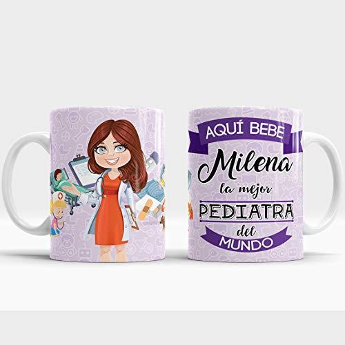 Taza Aquí Bebe la Mejor Pediatra del Mundo/Taza aqui Bebe una Super Pediatra/Taza Personalizada con Nombre/Taza Regalo Original para Pediatra (Pediatra)