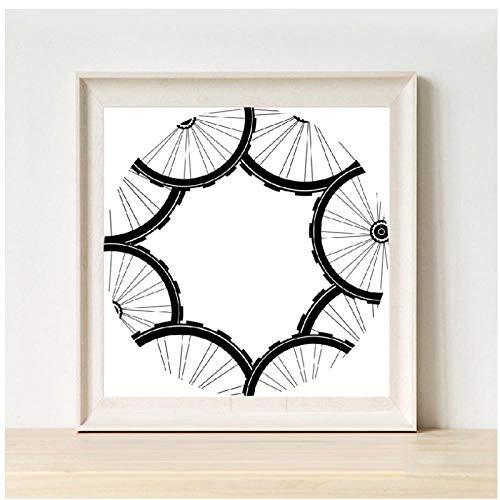 No-brand racefiets wielen patroon poster en druk mountainbike banden patroon kunst canvas schilderij schilderij modern huis muurkunst decoratie - 40X40cm niet ingelijst