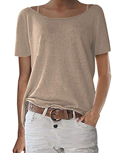 ZANZEA Mujer Camisetas Manga Corta Tallas Grandes Holgada Cuello Redondo Tops Casual Blusa Suelta T-Shirt 02-Beige XL