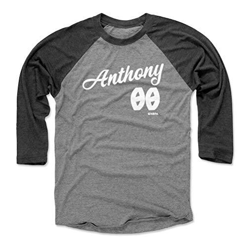 500 LEVEL Carmelo Anthony Tee Shirt (Baseball Tee, Large, Black/Heather Gray) - Carmelo Anthony Portland Script WHT