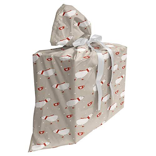 ABAKUHAUS Ijsbeer Cadeautas voor Baby Shower Feestje, Schaats Mok van het Hart Bear, Herbruikbare Stoffen Tas met 3 Linten, 70 cm x 80 cm, Pale Sepia Vermilion